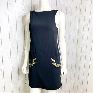 RACHEL ROY Black Sleeveless Sheath Dress w Gold